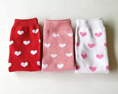 Baby Girls Hearts Pink and Red Leg Warmers