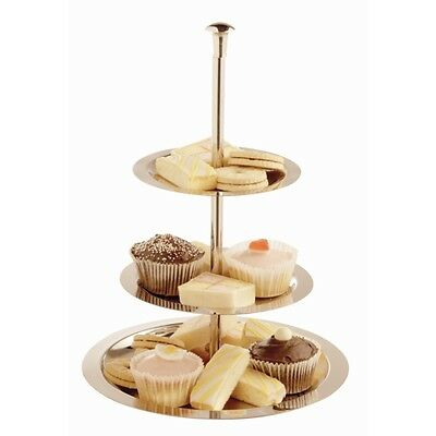Large 3 Tier Silver Stainless Steel CAKE STAND Round  Dessert Table Display Tray