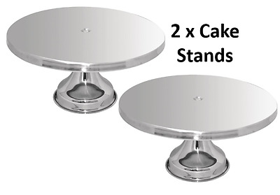 2 x Large Silver Stainless Steel CAKE STAND Round  Dessert Table 33cm