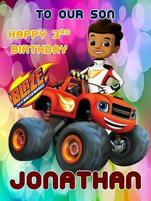 Personalised Blaze and the Monster Machines Birthday Greeting Card Envelope 365