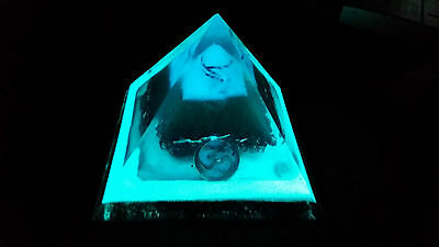 Large unique [10cm]Glowing Orgone/Orgonite Double Pyramid. with Om charm