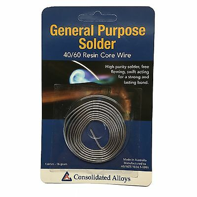 Consolidated Alloys GENERAL PURPOSE SOLDER 40/60 Resin Core Wire 1.6mm AUST Made