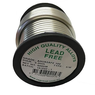 Consolidated Alloys LEAD FREE AQUASAFE100 WIRE SOLDER 3.2mm 500g Made in Aust