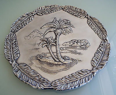 """Arthur Court  BIG Round Tray Plate 14"""" Palm Trees  NEW 2003"""