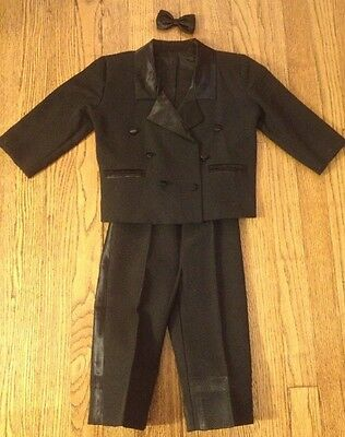 Black Tuxedo Formal Suit with Bow-Tie, Boys size 3