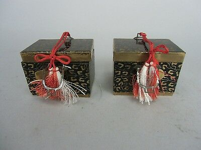 ID33 Japanese Hina Doll Miniature Furniture Accessory Vintage Wood Lacquer Box
