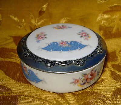 Chanill Limoges France Lidded Trinket Box Pink Roses