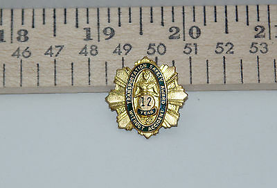 Vintage Transportation Safety Award 12 Years Gold Filled Lapel Pin