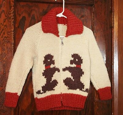 Vtg Hand Knit Cowichan Lebowski POODLE Dogs Sweater Jacket  Child Kids M