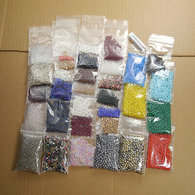1lb Bulk Mix of Seed Beads: Fashion Glass Rocailles / Plastic Balls (35 Bags)