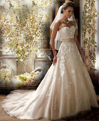 Stock New White/Ivory lace sweetheart Wedding Dress Bridal ball Gown size 6-16