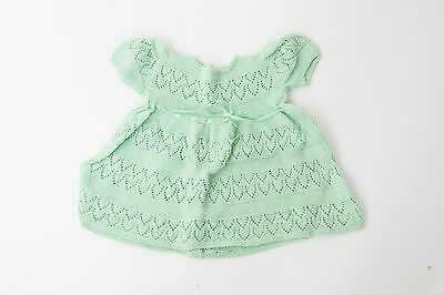 1940s Jadite Green Knit Lace Wool Baby Dress