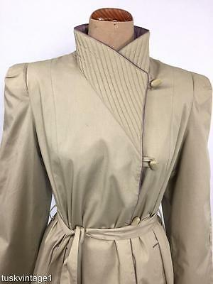 VINTAGE BEIGE deep lilac quilted collar tie waist rain TRENCH coat jacket 12 14