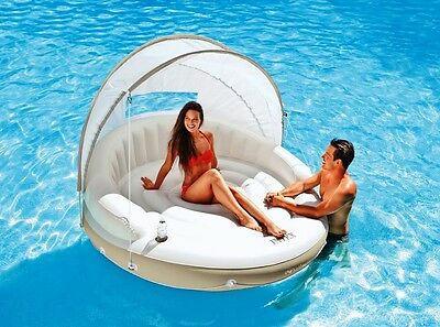 Floating Circular Lounger Canopy Island Inflatable Sun Shade Swimming Pool Relax