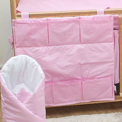 Nursery Baby Cot Tidy / Organiser for Cot/ Cotbed/ Cot Bed - Plain Pink