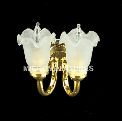 1/12th Scale Dolls House Wall Light with Double Frosted Tulip Bulbs