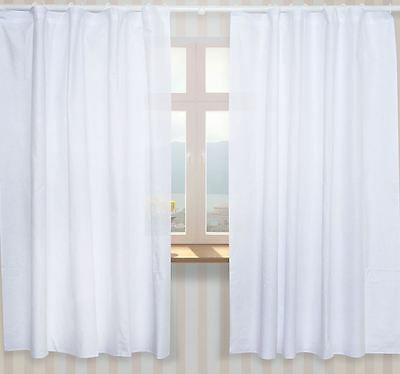 Nursery Curtains with Decorative Bows For Baby's Room 62x62inch - Plain White