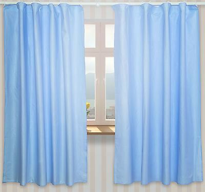 Nursery Curtains with Decorative Bows For Baby's Room 62x62inch - Plain Blue