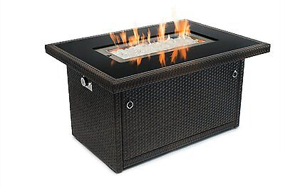 Fire Pit Table (35,000 BTU Propane) Black Tempered Glass Tabletop Outdoor Heater
