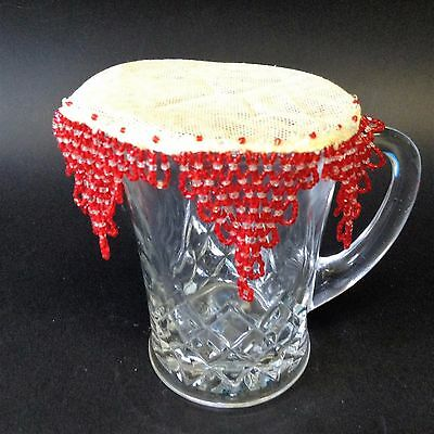 Vintage Hand Crafted - Red Glass Beaded Milk Jug Doilie Cover  - Star Shaped