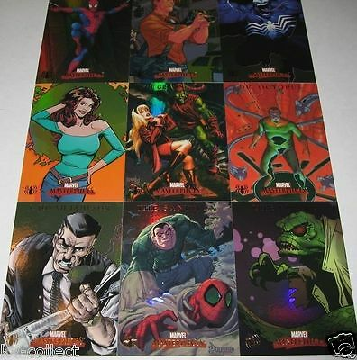 Marvel Masterpieces 2007 Series 1 Foil Fleer Spider-Man Chase Set S1 - S9