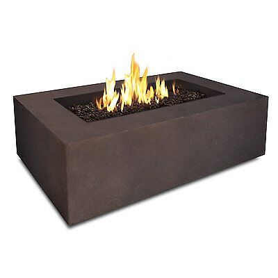 Fire Pit Table (50,000 BTU Propane) Rectangle Natural Gas Fire Table Brown