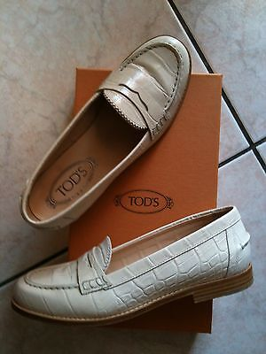 Tod's - Mocassini Stampa Cocco Avorio N. 37 - Loafers Shoes 7 Used