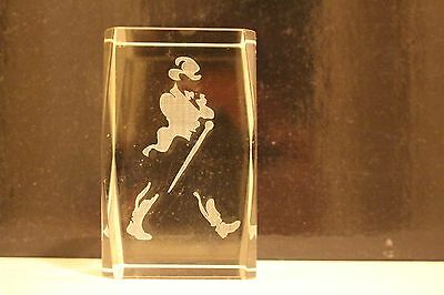 JOHNNIE WALKER Whisky rare solid glass paperweight laser etched Johnnie logo