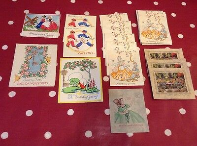 31 Pretty Vintage Greeting Card Lot 1940s