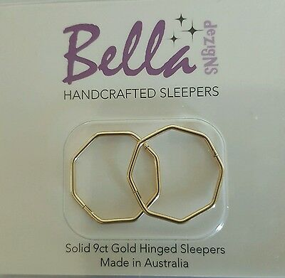 **SPECIAL** 1 x pair OCTAGONAL 18mm SOLID 9ct GOLD Sleeper Earrings
