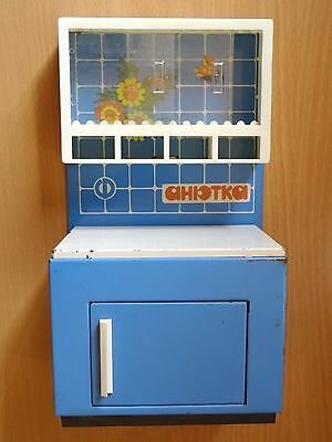 1970s Russian soviet USSR rare metal toy furniture kitchen cupboard for children