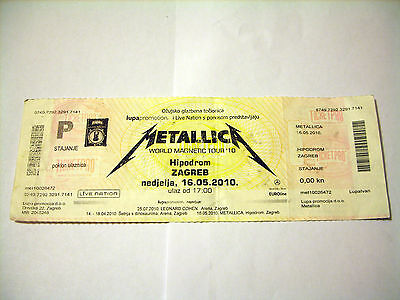 Metallica, World Magnetic Tour, Zagreb  2010, Unused Ticket, Bend In The Middle.
