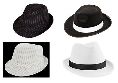 Adult Gangster Hat 1920'S Fancy Dress Trilby Al Capone Gatsby Costume Accessory