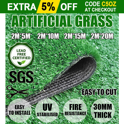 10/20/30/40 SQM Artificial Grass Synthetic Turf Plastic Plant Lawn Flooring 30MM