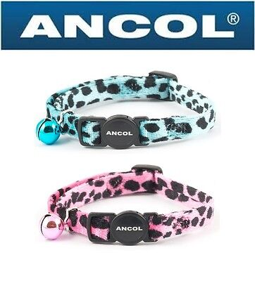 Velvet Leopard Print Cat Collar with Safety Buckle and Bell