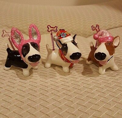 Lot of 3 Blue Witch Picture/Note Holder - Bull Terrier