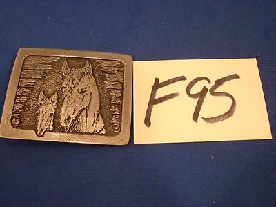 F95 Vintage Cast Metal Pewter? Belt Buckle Horse And Baby Foal
