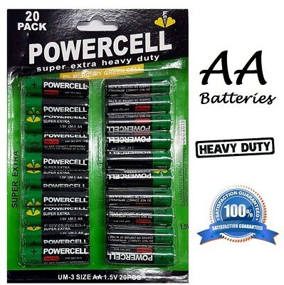20pk Powercell AA Zinc Batteries 1.5V Extra Heavy Duty Charger Toy Batteries