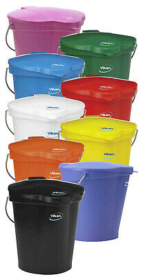 Vikan High Quality 12 Litre Bucket Stainless Steel Handle 56861-9 & Lid 56871-9