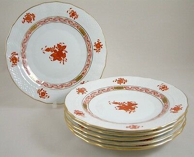 """Herend Porcelain Chinese Bouquet Rust Aog 7"""" Tea/side/bread Plates 1516 X 6 1St"""