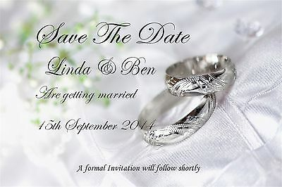 50 Personalised Save The Date Wedding Cards with Envelopes posted 1st class