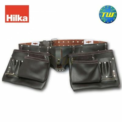 Hilka Heavy Duty 10 Pocket Professional Double Pouch Tanned Leather Tool Belt