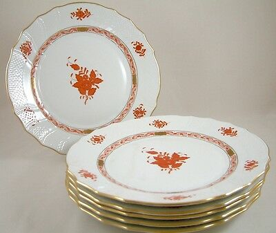 """Herend Porcelain Chinese Bouquet Rust Aog 10¼"""" Dinner Plates 1524 X 6 1St"""