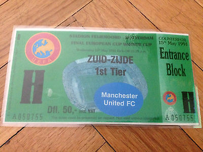 Entrada Ticket Winners Cup Final 1991 Barcelona Manchester United Repro