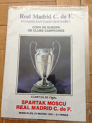 Programa Programme Real Madrid Spain Spartak Moskow Copa Europa Champions 1991