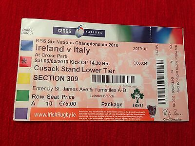 Entrada Ticket Six Nations Ireland Italy Dublin 06.02.2010 Rugby