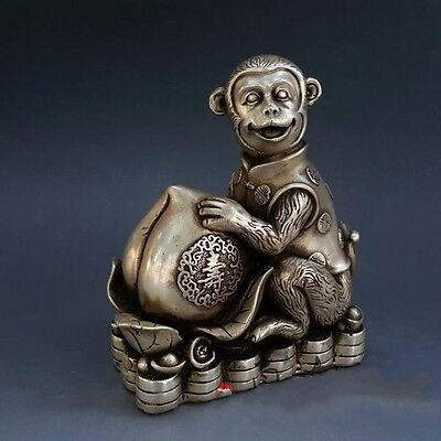 Old Chinese Fengshui Silver Wealth Peaches Zodiac Monkey Animal Lucky Statue