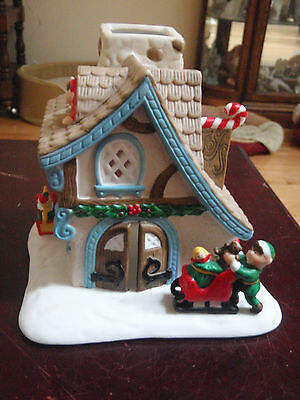 Partylite Porcelain House w stone chimney tealight decorated for Christmas