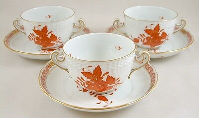 Herend Porcelain Chinese Bouquet Rust Aog Cream Soup Coupes/saucers X 31718 1St
