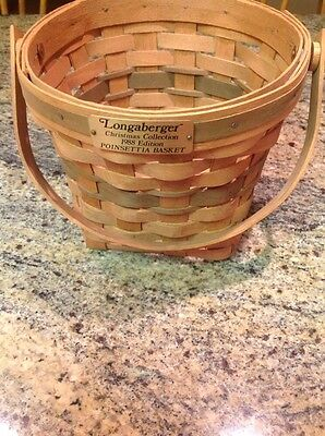 Vintage Longaberger 1988 Christmas Collection POINSETTIA Basket Tan/Green